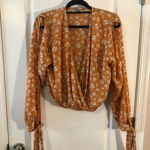 Yellow Long Sleeve Floral Blouse